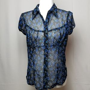 Byer Claifornia Sheer Blue and Black Blouse